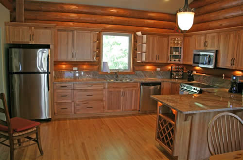 Gulf islands vacation home the log cabin south pender for Log cabin kitchen islands
